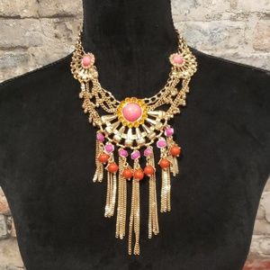 Faux stone and goldtone Statement necklace